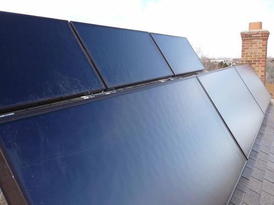 tilted solar thermal collectors